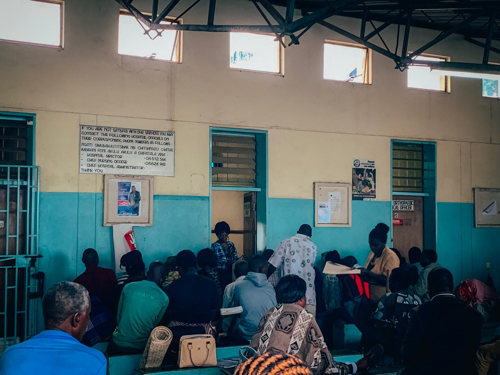 Patients waiting (many since 8am or earlier) at the Orthopedic OPD clinic at Kamuzu Central Hospital where the nurses are currently on strike